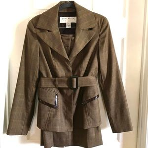 Doncaster signature belted brown plaid skirt suit